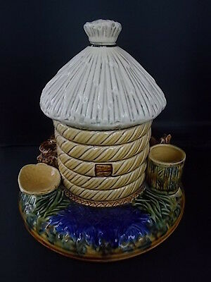 Antique c19th MAJOLICA Pottery Smokers Compendium Tobacco Jar Pipe stand Matches
