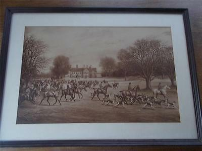 Antique 1896 Hunting Print Fox Hunt NETHER HALL by GD GILES Packenham Suffolk