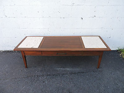 Mid-Century Modern Walnut and Stone Top Coffee Table 7783