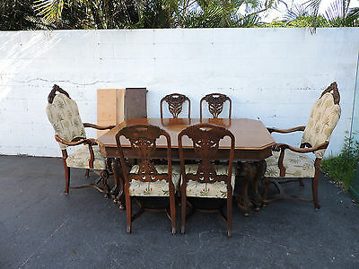 Early 1900's Walnut Large Dining Table with 6 Heavy Hand Carved Chairs 7768X