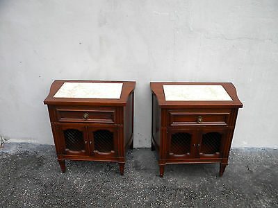 Pair of Mid-Century Marble-Top Nightstands / End Tables / Side Tables 5620