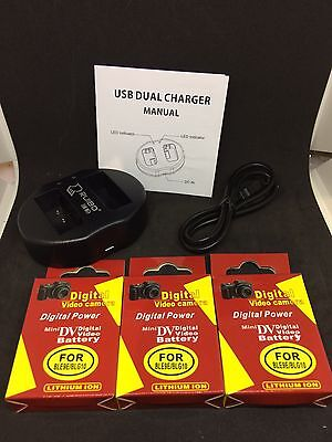 Three Digital Video Camera Batteries Plus Charger For Ble9E/blg10 All New