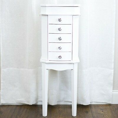 Jewelry Armoire White Wood Chest Cabinet Ring Necklace Organizer Mirror Stand