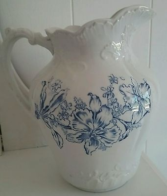 Antique Ironstone White & Blue Transferware Lg. Pitcher