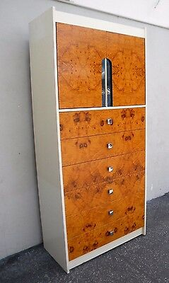 Tall MCM Mid-Century Vintage Burl Chest of Drawers / Cabinet 5433