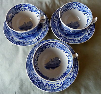 3 Tea Cups & Saucers In Spode Blue & White Italian Design