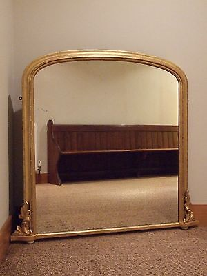 English Antique Gilt & Gesso Overmantle Mirror Dated 1879