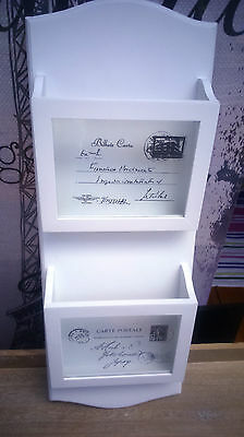 Stunning White French Shabby Chic Style Wooden & Glass Panel Letter Rack BNIB