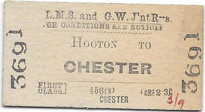LMS & GW Joint Railway ticket : Hooton - Chester 1965