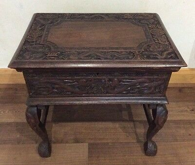 Antique Vintage Large Chinese Rare Hand Carved Wooden Box With Folding Legs
