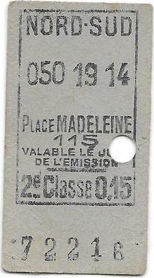 France Railway ticket : Place Madeleine - Nord-Sud