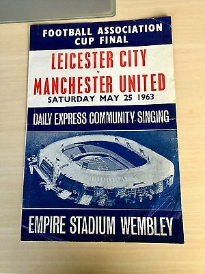 Leicester City Manchester United FA Cup Final 1963 song sheet Rare