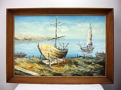 H. Russell Original Oil on Canvas Painting Docked Sailboats Seascape Nautical