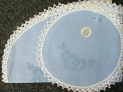 Ready to Embroider~Brand New & Unused~3 Piece Doily Set in Blue~Flowers