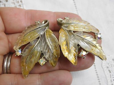 Gorgeous HUGE Vintage 1950s Lucite & Crystal Clip on Earrings signed LISNER