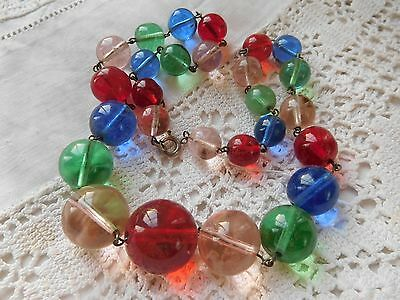 Stunning Vintage 1950s Colourful Glass Bead Necklace