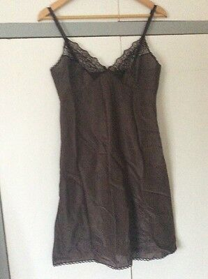 Vintage St Michael Marks And Spencer Brown Nylon Lace Trim Slip Dress Size 34""