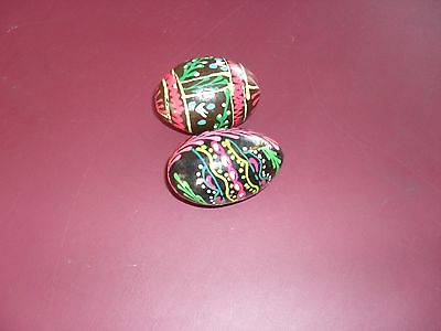 2 X Wooden Hand Painted Eggs