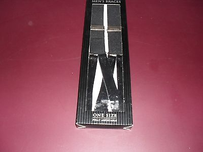 Mens Braces -Black- One Size Fully Adjustable-New In Box