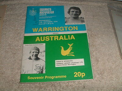 WARRINGTON V AUSTRALIA Rugby League Programme 11th Oct 1978 Signed Ray Price