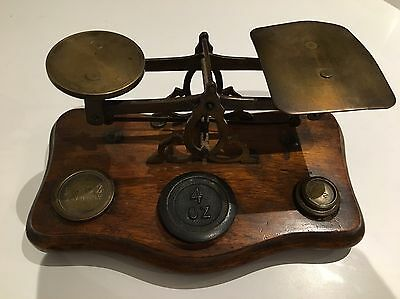 Antique Brass Postal Letter Scales British Weights W&T Avery Wood Post Office?