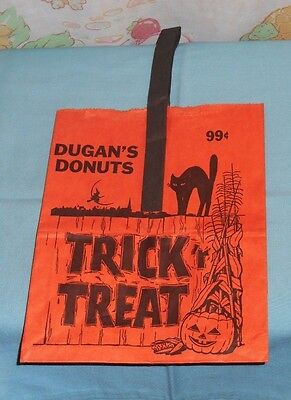 vintage DUGAN'S DONUTS Halloween TRICK-OR-TREAT BAG paper shopping bag