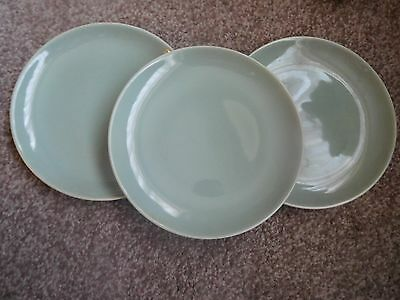 "poole pottery retro celadon green  3x 10 "" dinner plates 1950's two tone"
