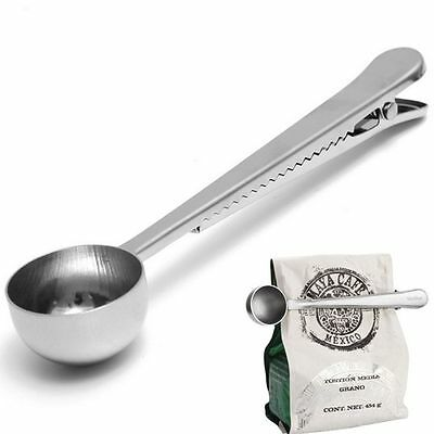 With Spoon Cooking Silver Tea 1pc Seal Clip Coffee Stainless Steel Spoon