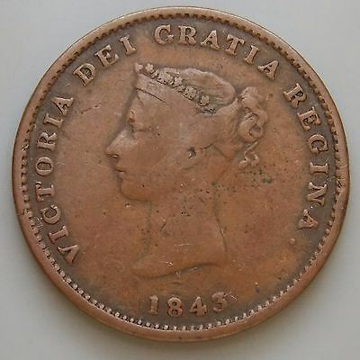 1843 NB-1A2 New Brunswick Canada Canadian Colonial 1/2 Penny Ship Token
