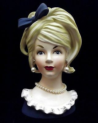 "7 1/2"" Lady Head Vase Headvase Blue Dress/Bow Blonde Pearl Jewelry ~Relpo K-1612"