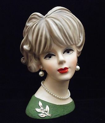 "7 1/2"" Lady Head Vase Headvase Green Dress Pearl Pin Jewelry~Napcoware C7473 EX!"