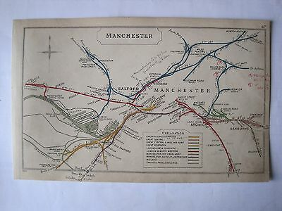 1920 RAILWAY CLEARING HOUSE Junc Diagram No.47 MANCHESTER.