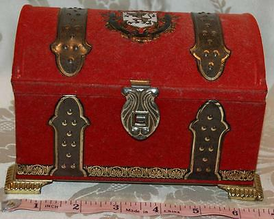 Vintage Biluebird Toffee Tin Old Fashioned Treasure Chest Red Flock Gold 1960s