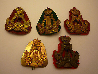 Collection Of 5 Genuine Musician / Band Cap Badges