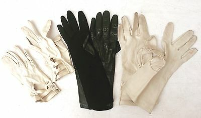 Vintage leather ladies gloves - 4 pairs