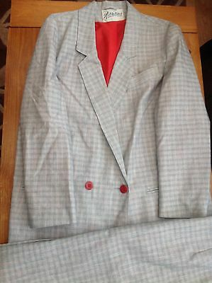 Vintage 1990's  Ladies Grey Checked  Suit -Jacket and Skirt - Size 14