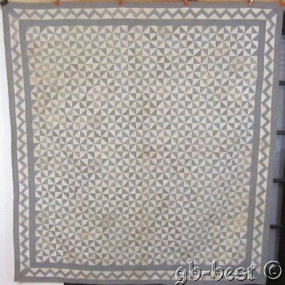 AMAZING PA c 1900 Broken Dishes Antique Quilt SMALL SCALE Blue Zig Zags