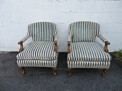 Henredon Hollywood Regency Pair of Mid Century Side by Side Chairs  7695