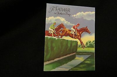 Vintage STEEPLE CHASE Horse Racing Father's Day card c. 1940s by: rust craft