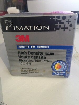 """Imation 3m Formatted High Density 3.5"""" Diskettes 1.44mb Sealed But Damaged Box"""