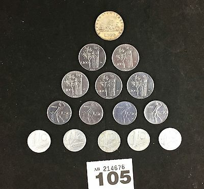 Italy 15x coins 500 lire 100 50 10 1955-1965 105
