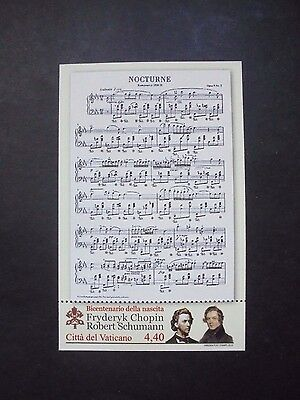 2010 Music Chopin Schumann Sheet Vatican City Vf Mnh N0.21 Start 0.99$