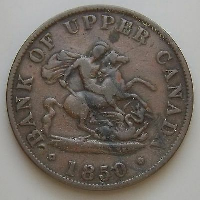 1850 PC-5A Province Of Canada Colonial Canadian Bank Of Upper Canada Token