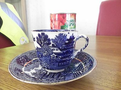 blue white willow cup saucer