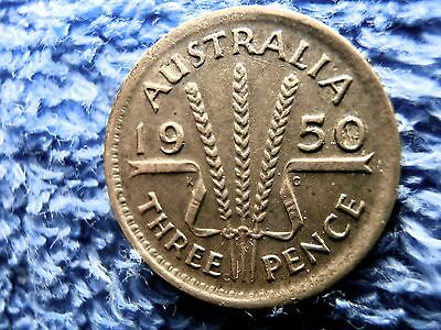 Australia: Scarce  Silver 3 Pence 1950-M  Extremely Fine!!