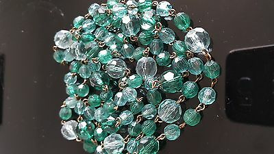 Vintage  Jewellery...emerald Color Necklace...old Wired Links