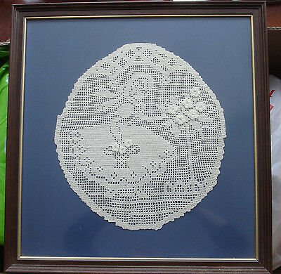 Vintage Creamy White Picture CROSS STITCH A Girl with Flowers pattern 1950's