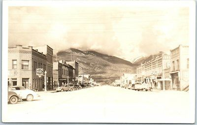 "Hamilton, Montana RPPC Postcard ""Main Street, Looking West"" Johnsons Photo 1940s"