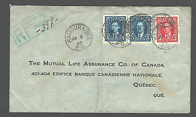 CANADA 1942; Registered cover KAMOURASKA to QUEBEC; RPO Cancel LEVIS & CAMP'B'TO