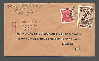 CANADA 1943; Registered cover Black out Cancel + RPO Cancel CAMP & LEVIS EXPRESS